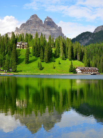 lake misurina: Lake Misurina and Tre Cime di Lavaredo  Dolomites Italy Stock Photo