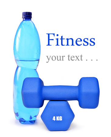 individual sport: Blue fitness dumbbells and PET bottle with drinking water isolated on white