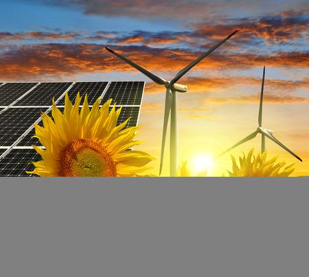 alternativ: Solar energy panels with wind turbines in sunflower field. Green energy. Stock Photo
