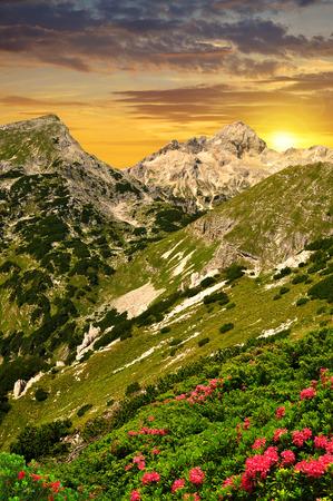 julian: Triglav National Park at sunset  Julian Alps Slovenia Stock Photo