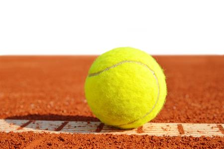 tennis clay: Tennis balls on a tennis clay court