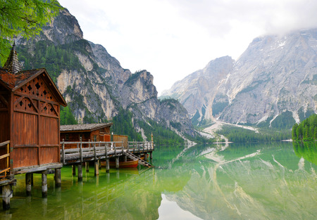 boathouse: Boathouse at the Lago di Braies in Dolomiti Mountains  Italy Europe Stock Photo