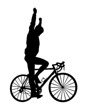 road bike: silhouette of a cyclist on a road bike