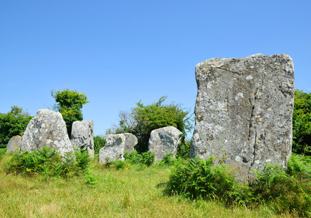 megaliths: Megalithic monuments menhirs in CarnacBrittany France Stock Photo