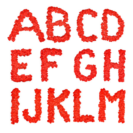 Red heart font. A lot of hearts in the form of letters A B C D E F G H I J K L M