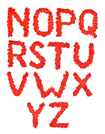 u s: Red heart font. A lot of hearts in the form of letters N O P Q R S T U V W X Y Z Stock Photo
