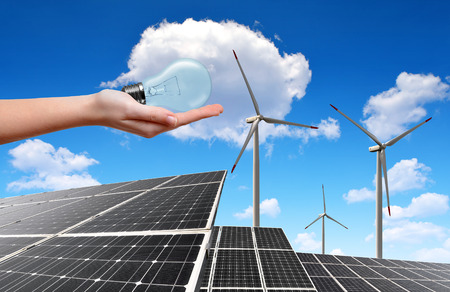 silicium: solar energy panels and wind turbines