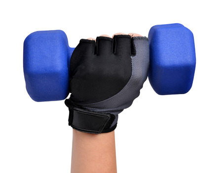 weightlifting gloves: Hand holding blue fitness dumbbell isolated on white background