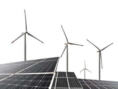 energia solar: Paneles de energía solar con turbinas de viento en el fondo blanco