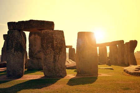 uk: Historical monument Stonehenge in the sunset England UK