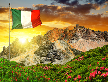 dolomite: Fanes Park in the sunset Dolomites  Italy Stock Photo