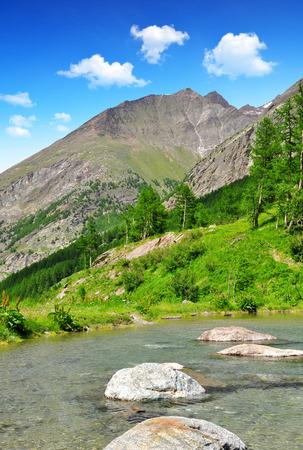 valais: Lake in Saas Valley  Canton of Valais Switzerland Stock Photo