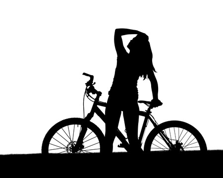 action girl: Silhouette of a cyclist with mountain bike isolated on white background.