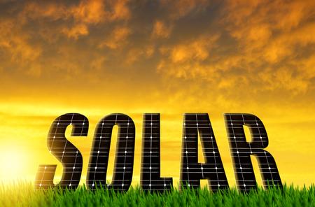 alternativ: The word Solar from solar energy panels against sunset sky Stock Photo