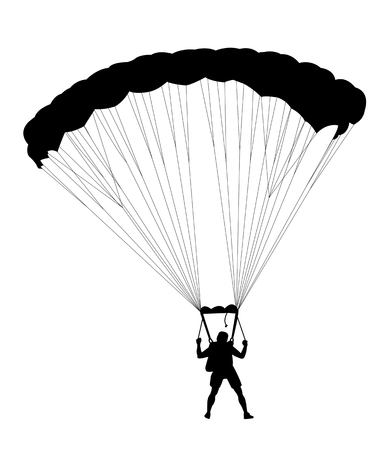 skydiver: Silhouette skydiver parachutist isolated on white