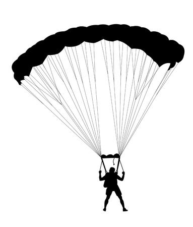parachutist: Silhouette skydiver parachutist isolated on white