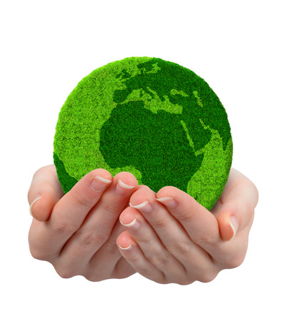 recluse: Green planet in hands isolated on white background