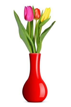 tulipan: Purpurowy, żółty i czerwony tulipan w wazonie na białym tle