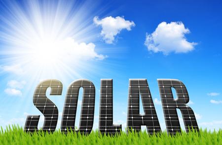 paneles solares: La palabra solar de paneles de energía solar Foto de archivo