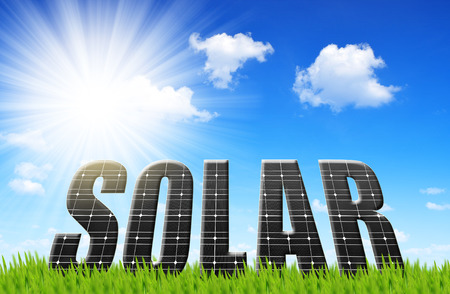solar power plant: The word Solar from solar energy panels