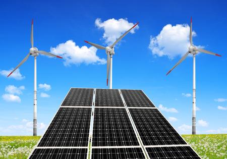 silicium: Solar energy panels and wind turbines