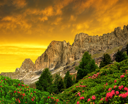 vajolet: Dolomite peaks, Rosengarten at sunset,Val di Fassa, Italy Alps