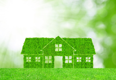 GREEN BUILDINGS: Green house symbol on meadow