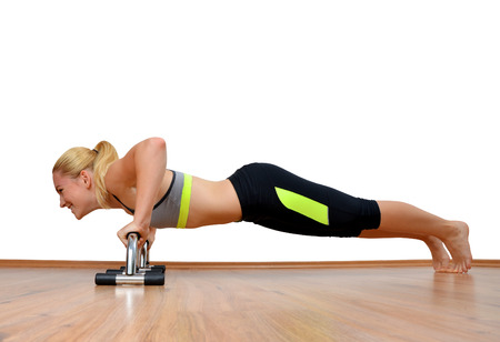 pectoral: Girl exercising workout fitness aerobic. Pectoral muscles exercises. Stock Photo