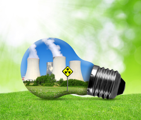 toxic: Nuclear power plant in bulb. Concept of nuclear energy.