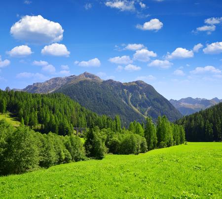 mountain landscape: Beautiful Alpine landscape with mountain range. Canton Graubunden, Switzerland