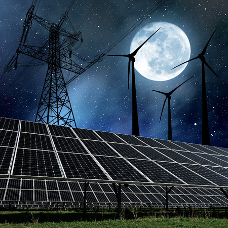 power plant: Solar panels with wind turbines and electricity pylon in night. Clean energy concept.