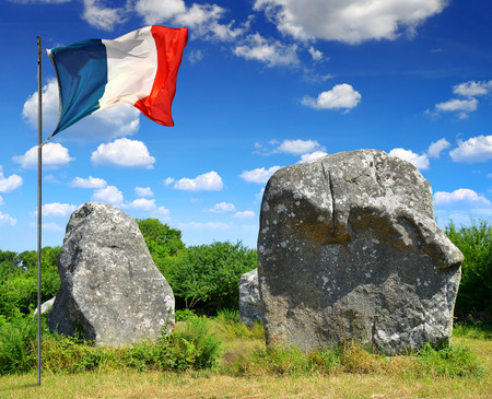 megaliths: Megalithic monuments menhirs in Carnac,Brittany, France