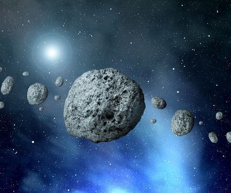 Belt asteroids in space on a starry background.