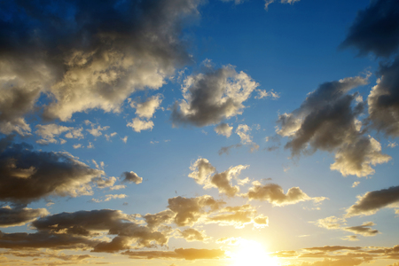 sunset sky: Colorful sky with clouds at sunset. Nature background Stock Photo