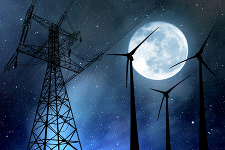 electricity pylon: Wind turbines and electricity pylon in the night sky with moon.