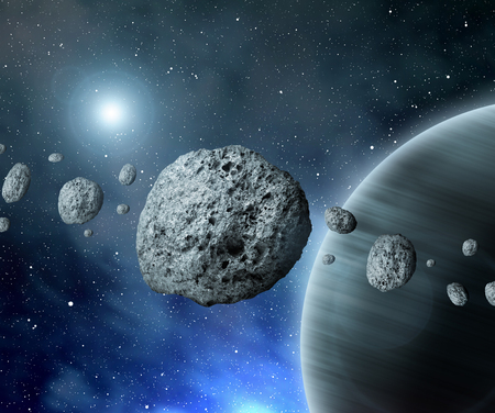 planetoid: Belt asteroids in space on a starry background
