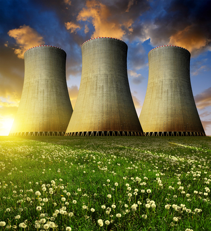 nuclear plant: Nuclear power plant in the sunset