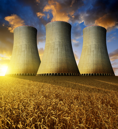 global cooling: Nuclear power plant in the sunset
