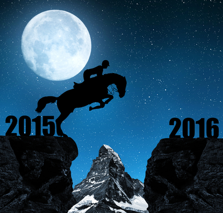 matterhorn: The rider on the horse jumping into the New Year 2016. In the background Matterhorn