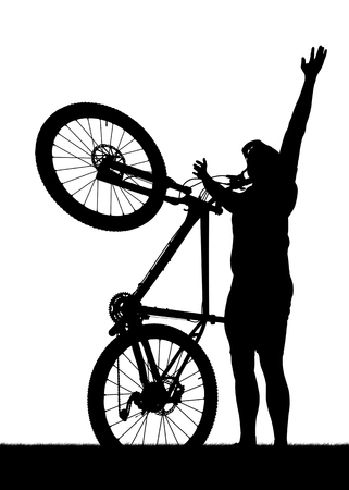 mtb: Silhouette of a cyclist with mountain bike isolated on white background.