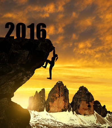 new years vacation: Silhouette girls climbs into the New Year 2016
