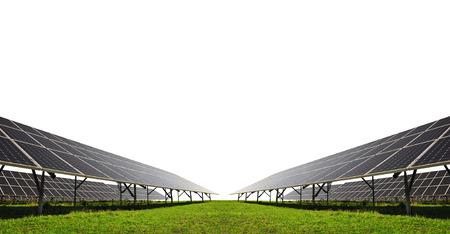 ahorro energia: paneles de energía solar en el fondo blanco Foto de archivo