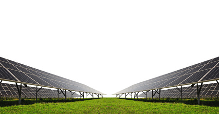 energy saving: Solar energy panels on white background