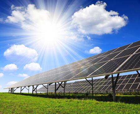 Solar energy panels with sunny sky 스톡 콘텐츠