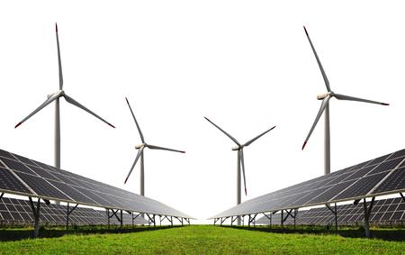 alternativ: Solar energy panels with wind turbines on white background