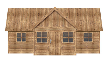 single dwelling: Wooden house isolated on a white background Stock Photo