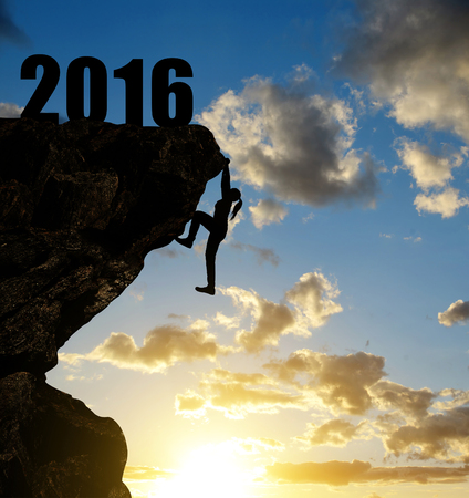 new scenery: Silhouette girl climbs into the New Year 2016.