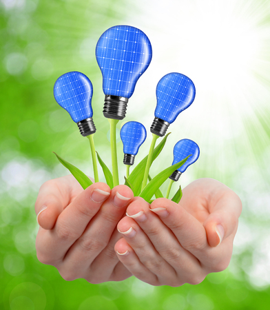 natural energy: Eco energy light bulbs in hands on green natural background