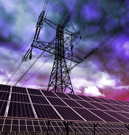 alternativ: Solar energy panels and electricity pylon against storm clouds. Clean energy. Stock Photo