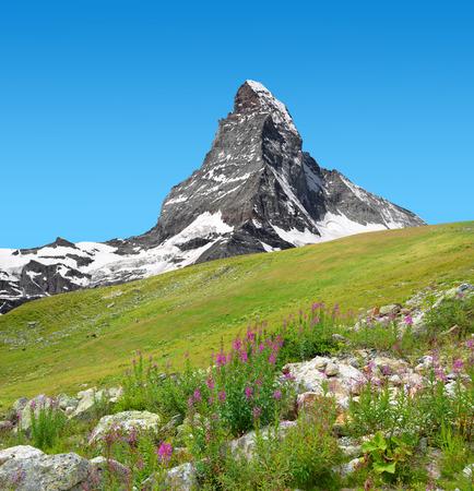 zermatt: Views of the mountain Matterhorn in Pennine Alps, Switzerland Stock Photo